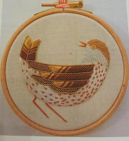 Becky Hogg goldwork kit Song Thrush