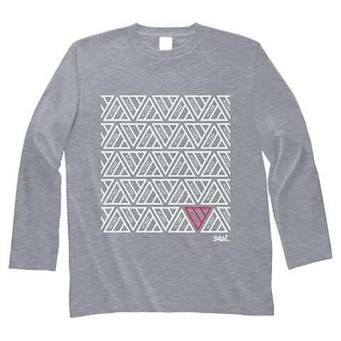 TRIANGLE PATTERN LONG SLEEVE T-SHIRT GRAY