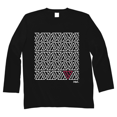 TRIANGLE PATTERN LONG SLEEVE T-SHIRT BLACK