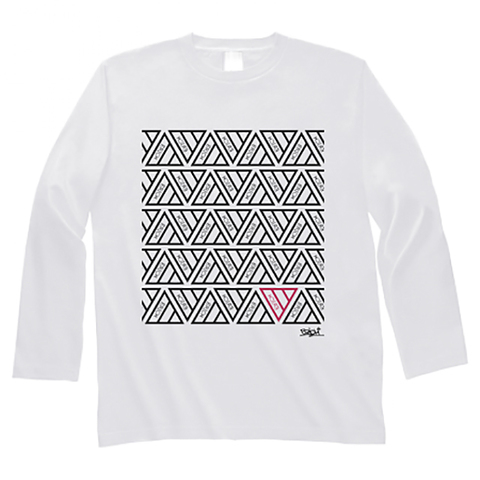 TRIANGLE PATTERN LONG SLEEVE T-SHIRT WHITE