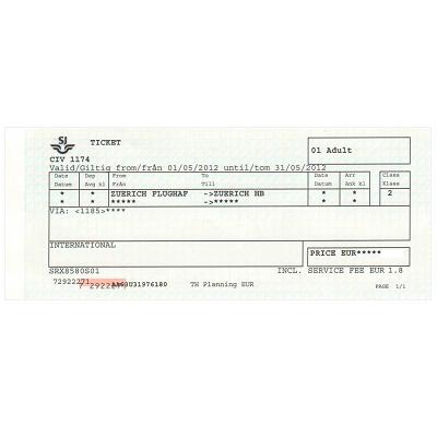 チューリッヒ 空港/市内 片道乗車券 ≪2等≫