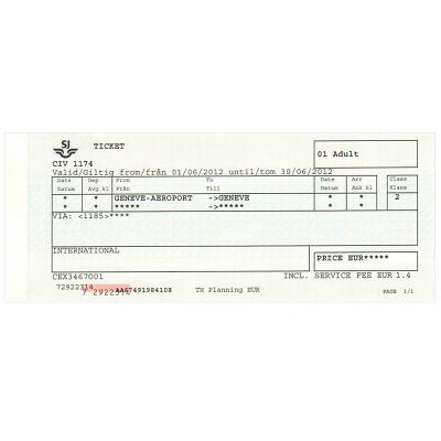 ジュネーブ 空港/市内  片道乗車券 ≪2等≫