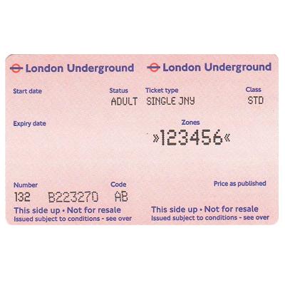 ロンドン地下鉄 1回券  ゾーン1~6