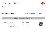 オスロ空港/市内  VY (ノルウェー国鉄旧NSB) 片道乗車券 ≪2等≫