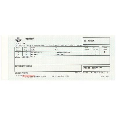 アムステルダム 空港/市内 片道乗車券 ≪2等≫