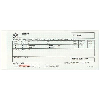アムステルダム 空港/市内 片道乗車券 ≪1等≫