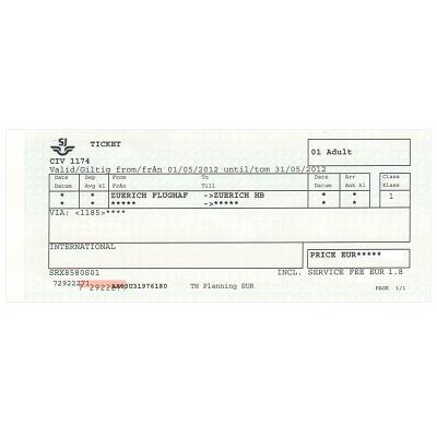 チューリッヒ 空港/市内 片道乗車券 ≪1等≫