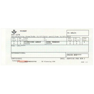 ローマ フィウミチーノ 空港/テルミニ駅 (市内) 片道乗車券 ≪1等≫