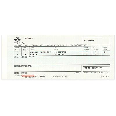 ジュネーブ 空港/市内  片道乗車券 ≪1等≫