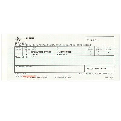 ミュンヘン 空港/市内  片道乗車券 ≪2等≫