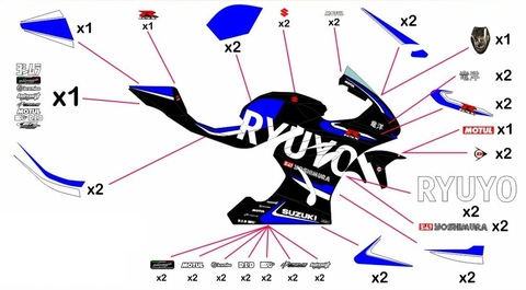 GSX-R1000 17-20 RYUYO グラフィックステッカー