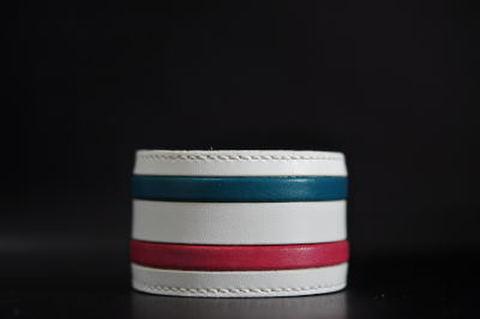 2 Line White leather Wristband