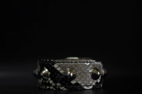 1Row Conical studs Snake leather Wristband