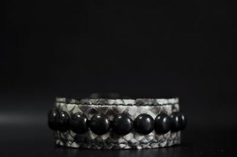 1Row Blackmarble studs Snake leather Wristband