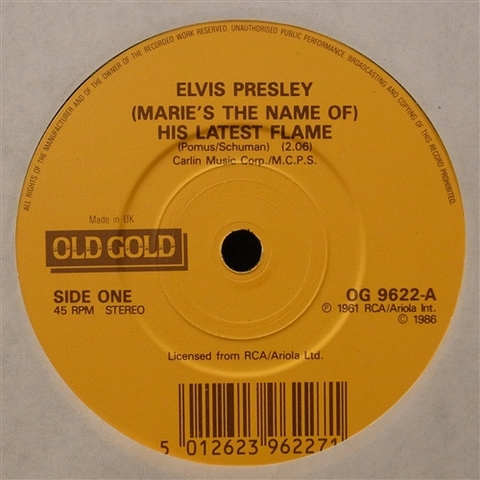 "ELVIS PRESLEY / (MARIE'S THE NAME OF) HIS LATEST FLAME (7"")"