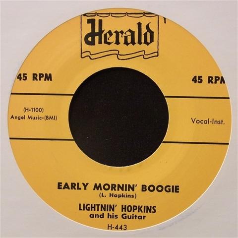 """LIGHTNIN' HOPKINS / EARLY MORNIN' BOOGIE (7"""")"""