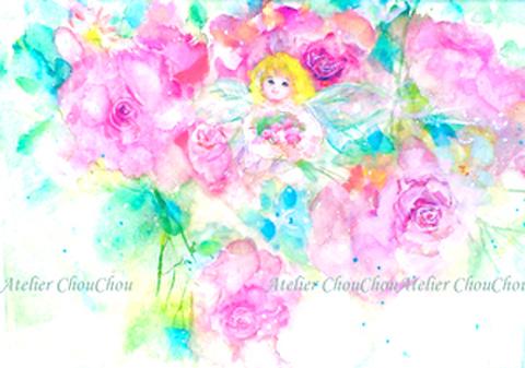 No,5薔薇と妖精 水彩画 ポストカード