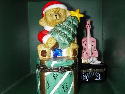 ベア&クリスマスツリー小物入れ