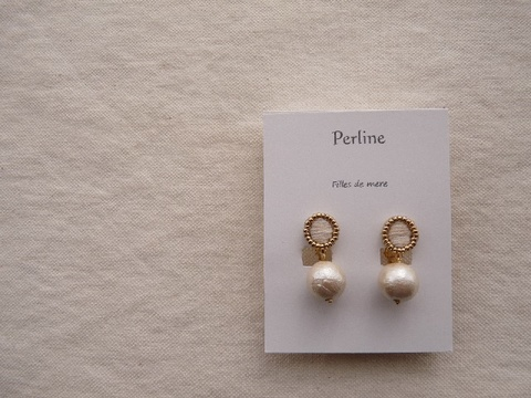 【Perline】white embroidery × cotton-pearl earring