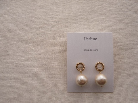【Perline】white embroidery × cotton-pearl pierce