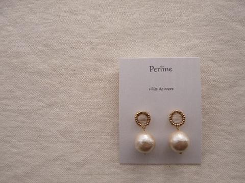 【Perline】white embroidery × cotton-pearl pierce