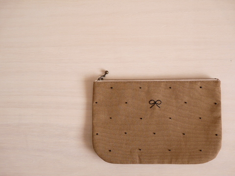 【Fioretto】ribbon&dot pouch L (milktea×black)