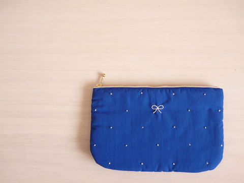 【Fioretto】ribbon&dot pouch L (skyblue×white)