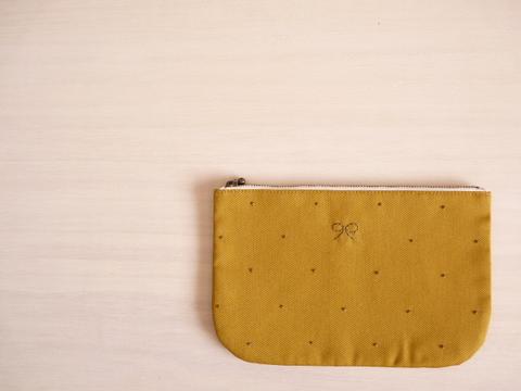 【Fioretto】ribbon&dot pouch L (mustard×khaki)