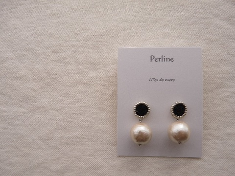 【Perline】black embroidery × cotton-pearl(L) pierce