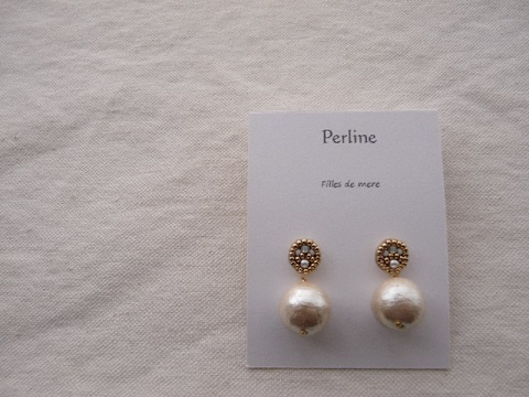 【Perline】beads embroidery × cotton-pearl pierce