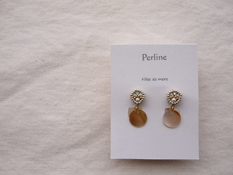 【Perline】beads embroidery × shell earring