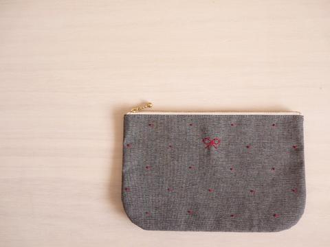 【Fioretto】ribbon&dot pouch L (dungaree×red)