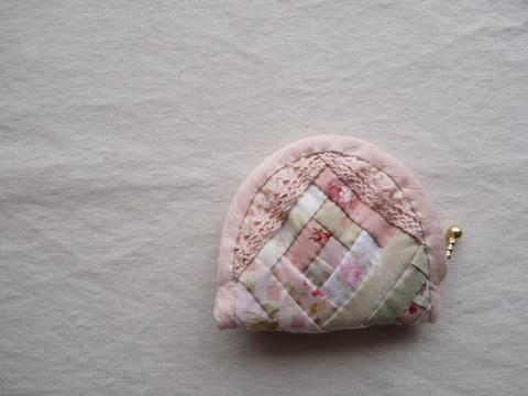 【Madre】patchwork coin purse(pink‐beige lace)