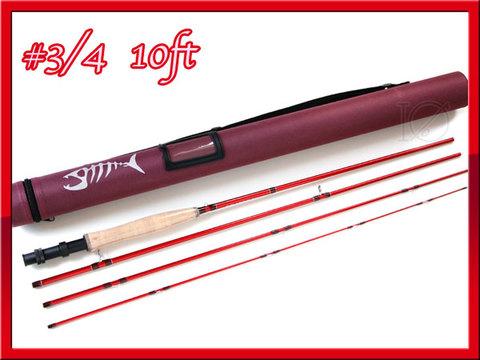 フライロッド 4ピース #3/4 赤 Fly Rod チューブ付