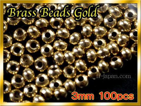 ブラス ビーズ Gold 100個セット Brass Beads 3mm