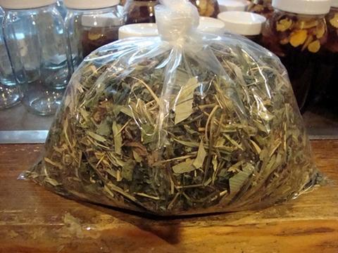 天然物ツルニンジン茎 葉 他薬草入 お茶 自家採り自然乾燥