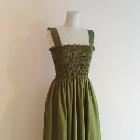 Cotton Shirring Maxi Dress