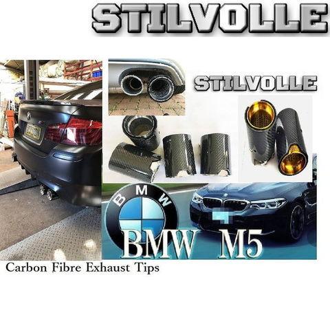 カーボンファイバー マフラーカッター ステルホル STILVOLLE BMW M5 F10 2017- 適合 3Kツイル織り UV保護クリアコート 左右4個セット