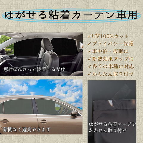 はがせる粘着カーテン車用 取り外し可能粘着テープ貼付 プライバシー保護 直射日光紫外線対策 遮光生地 (黒, 75x54cm)
