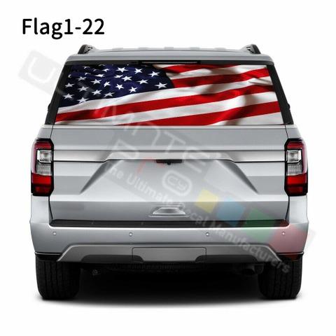 グラフィック デカール ステッカー 車体用 / フォード エクスペディション 2020 / リアウィンドウ フラッグステッカー