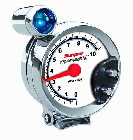 Sunpro クローム ベゼル ホワイト タコメーター シフトランプ付 CP7914