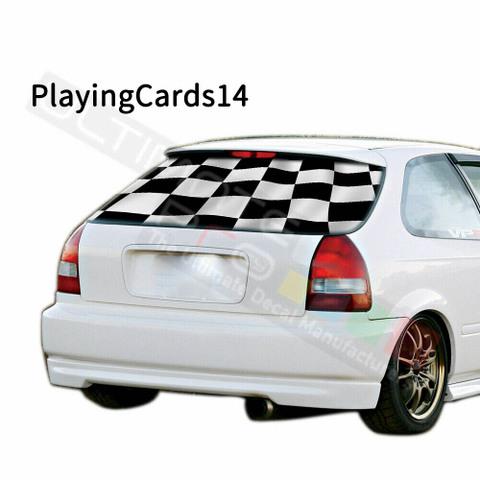 グラフィック デカール ステッカー 車体用 / ホンダ シビック 1996 / リアウィンドウ トランプデザイン