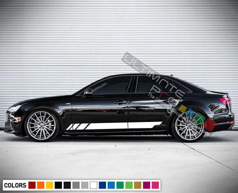 グラフィック デカール ステッカー 車体用 / アウディ A4 2010-2018 / サイドドア ストライプステッカー
