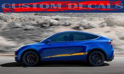 グラフィック デカール ステッカー 車体用 / テスラ モデル3 モデルX モデルY モデルS / レーシングデザイン・ステッカー