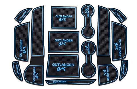 新型 アウトランダー 専用設計 青 インテリア インナー ノンスリップマット ドア ポケット ドリンクホルダー ゲート スロット 滑り止め PHEV GF7W 8W GG2W 在庫品