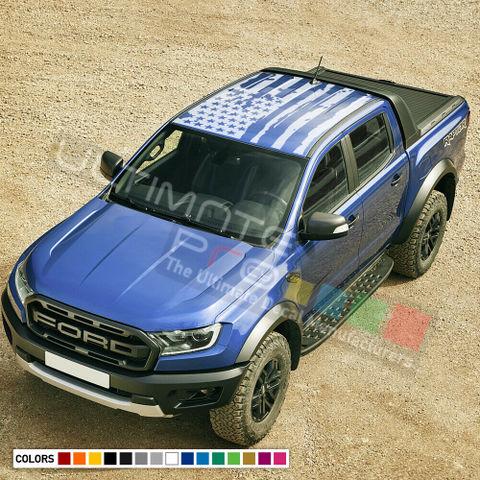 グラフィック デカール ステッカー 車体用 / フォード レンジャー 2014-2019 / アメリカンフラッグ ルーフステッカー