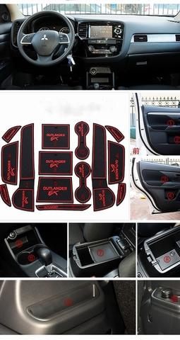 新型 アウトランダー 専用設計 赤 インテリア インナー ノンスリップマット ドア ポケット ドリンクホルダー ゲート スロット 滑り止め PHEV GF7W 8W GG2W 【特価在庫セール品】