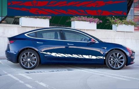 グラフィック デカール ステッカー 車体用 / テスラ モデル3 モデルX モデルY モデルS / スカル・ステッカー