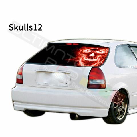 グラフィック デカール ステッカー 車体用 / ホンダ シビック 1996 / リアウィンドウ スカルデザイン