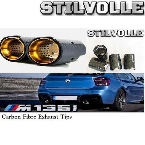カーボンファイバー マフラーカッター ステルホル STILVOLLE BMW M135i M140i F20 F21 2012- 適合 3Kツイル織り UV保護クリアコート 左右2個セット